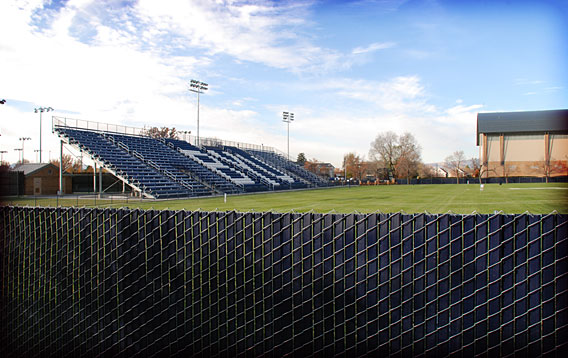 BYU Soccer Field: Chainlink Fence with Blue Slats