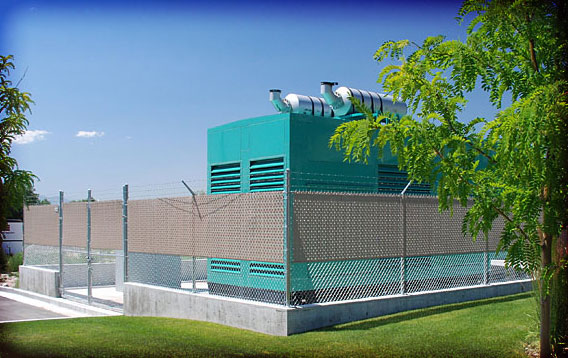 Generator Surround: Chainlink Fence with Privacy Slats
